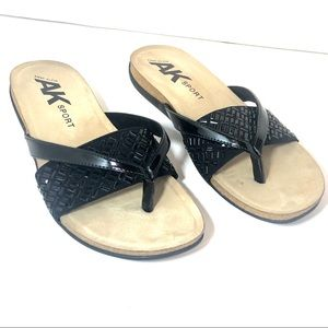 Anne Klein Sport Black Wedge Sandals Size 10